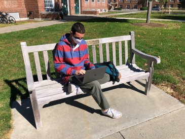 A picture of me studying outside.