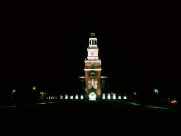 Baker Berry tower lit up at night