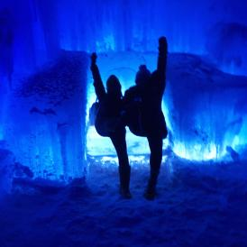 A very dramatic pose of me and my friend near on the ice throne