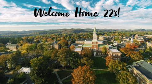 'welcome home '22s' overlaid on aerial view of campus