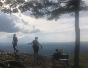 Gabriel and his friends at a lookout on Wright's Mountain, VT