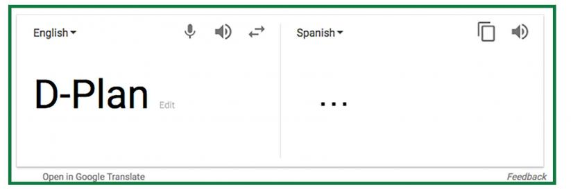 d-plan google translate screenshot