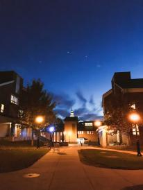 fall on campus at night