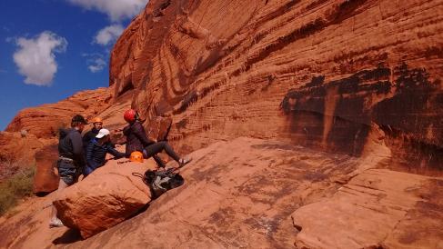 Climbing at the slab