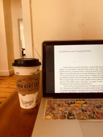 Working on my independent study readings at Mon Vert Cafe in Woodstock, VT!