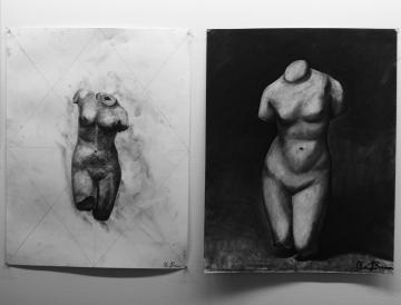 Charcoal figure sketches done by Drawing students.