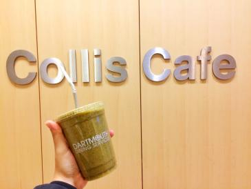 """My signature smoothie recipe, """"Green Goodness"""": peach, strawberry, banana, kale, pea protein, OJ & water. Seriously, try it."""