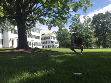 Slacklining in front of Dartmouth hall
