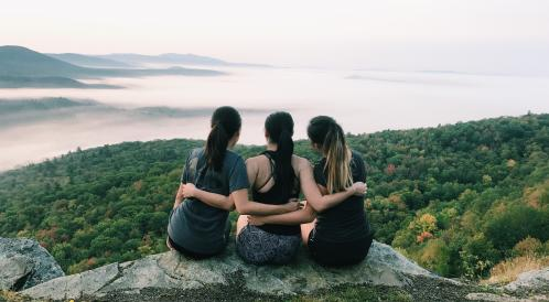 Amy and friends sitting atop Holt's Ledge
