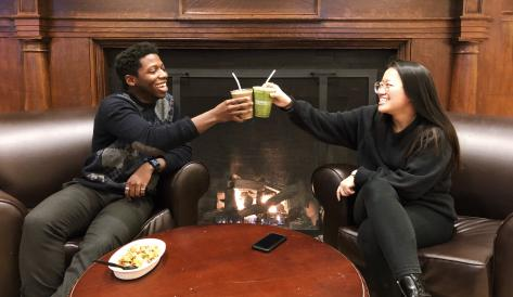 """Manny and friend """"cheers"""" with smoothies"""