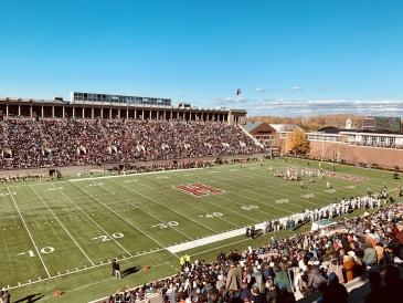 An incredible crowd at the Dartmouth-Harvard game in Cambridge!