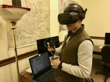 Jack touring a building using VR at Art & Tonics