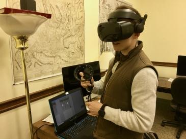 Jack touring a building using VR at Art & Tonics