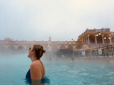 Soaking in Budapest's thermal baths.
