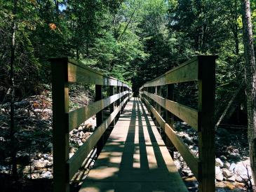 The bridge leading to the trails up the mountain.