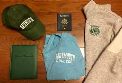 Dartmouth sweatshirt, passport, Dartmouth hat