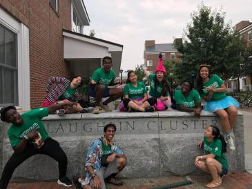 Your favorite LLC Undergraduate Advisors welcoming incoming first-year students on move-in day. Can you spot me? Hint: look for the flamingo hat