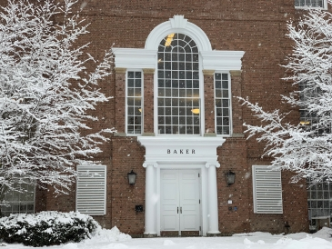 Baker Library and snow