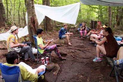 folks sitting around a campsite