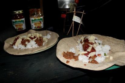 food on a tortilla