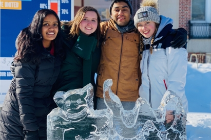 Ice sculpture with friends
