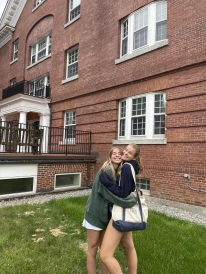 Sisters in front of Baker Berry