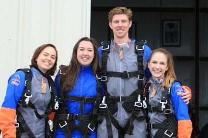 Colleen and friends preparing to go skydiving
