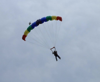 Colleen with an open parachute