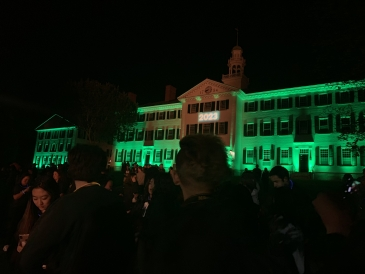 Homecoming: Dartmouth Hall Lit Up in Green