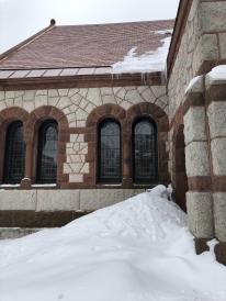 The unique exterior of Rollins Chapel.