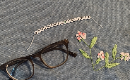 Dartmouth, glasses, embroidery