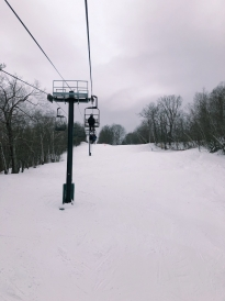 A picture of the chairlift while I rode on it.
