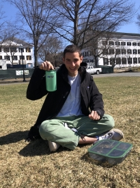 A picture of me about to eat a meal on the green.