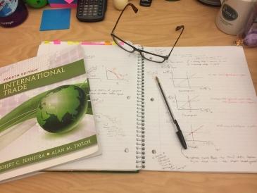 economics books on a table