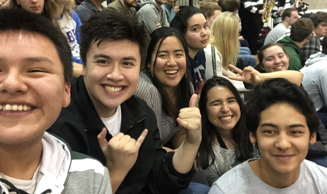 Gabe and company at basketball game
