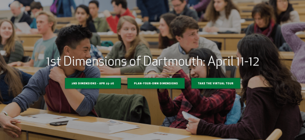 Screenshot of Dartmouth Admissions Website
