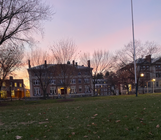A beautiful photo of Dartmouth buildings in the sunset.