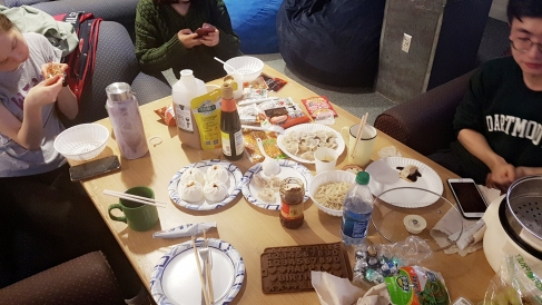Our potluck dinner table