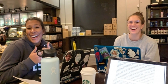 Studying at Starbucks with my best friends!