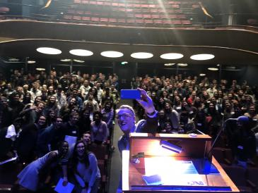 Lee taking a selfie with audience at Dimensions