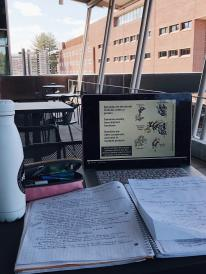 Notebook and laptop on table while studying outside.