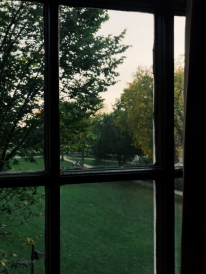 A view from a window overlooking the Green.