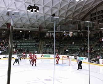 Dartmouth hockey team playing at the rink just off campus