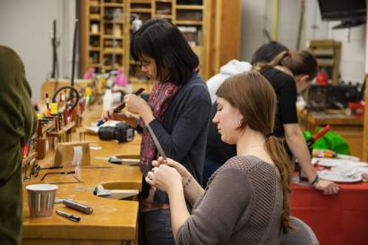 students working in jewelry studio
