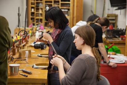 students working in jewelry studio