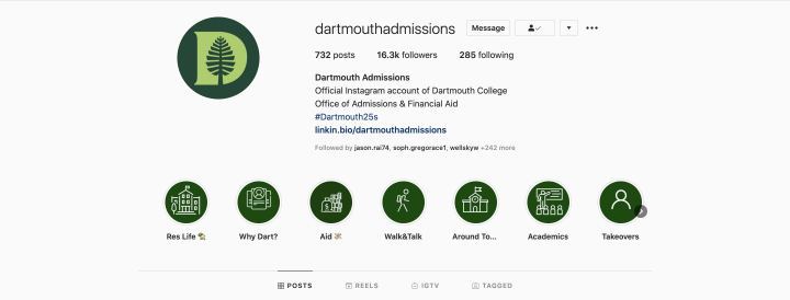 Dartmouth Admissions IG