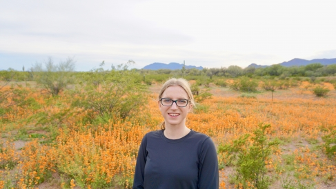 Isabel with Arizona wildflowers