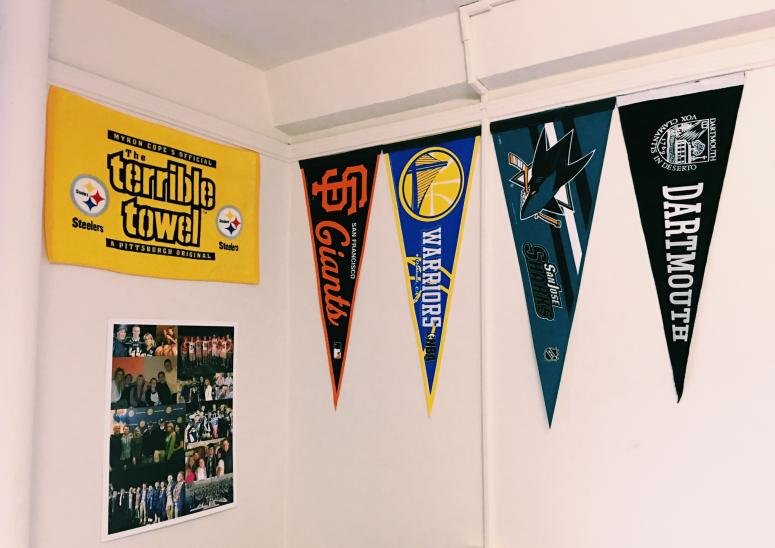 pennants in dorm room