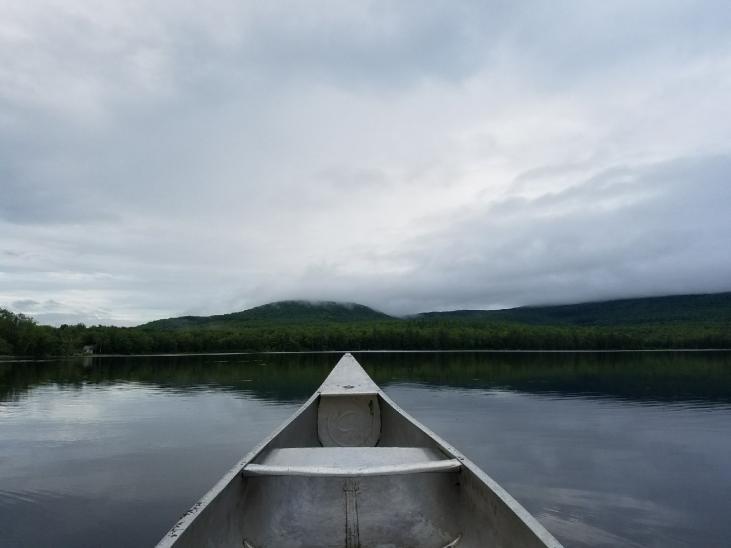 canoe floating on pond