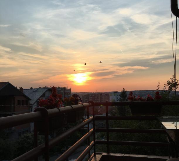 sunset balcony prishtina kosovo